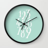 number Wall Clocks featuring Number by SimpleSerene