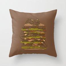 Godzilla vs Hamburger Throw Pillow