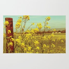 Spring Breeze (Mustard Plants and Cottage) Rug