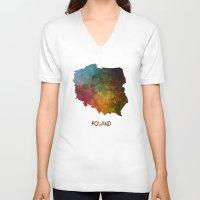 poland V-neck T-shirts featuring Poland map  by jbjart