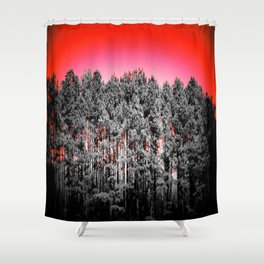 Gray Trees Candy Apple red Sky Shower Curtain