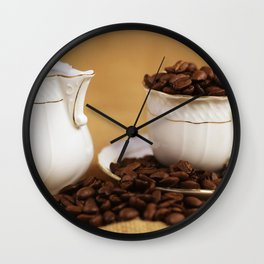 Creamer coffee cup coffee beans kitchen image Wall Clock