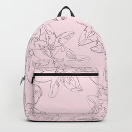 pink line art floral pattern Backpack