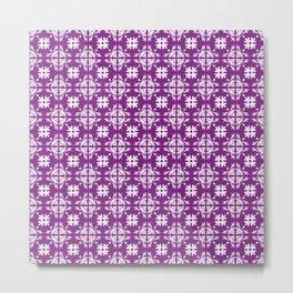 Purple & White Floral Tile Pattern Metal Print