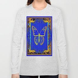 Lapis Blue & Gold Monarch Western Art design Long Sleeve T-shirt