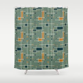 Intersecting Lines in Olive, Blue-green and Orange Shower Curtain