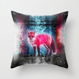 Pink fox vision Throw Pillow