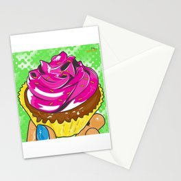 Pink Retro Pastry Cup Cake Stationery Cards