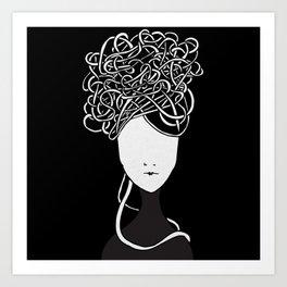 Iconia Girls - Maria Black Art Print
