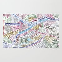 literary Area & Throw Rugs featuring St. Petersburg Literary Map by Ilya Merenzon