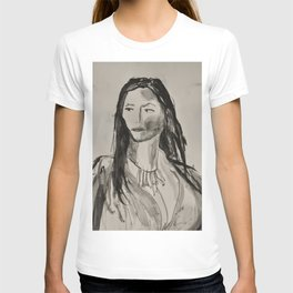 Portrait of a Woman in Black and White T-shirt