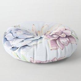 Pristine Blue Succulents Floor Pillow