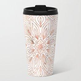Mandala Rose Gold Quartz on Marble Travel Mug