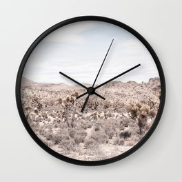 Cactus Landscape // Photograph of Desert Plains Cloudy Sky Tan and Yellow Wall Clock