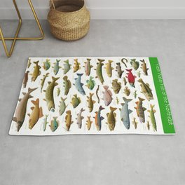 Illustrated Northeast Game Fish Identification Chart Rug