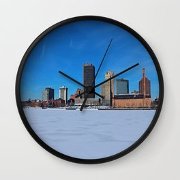 Toledo Skyline in Winter IV Wall Clock