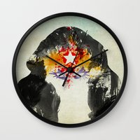 muscle Wall Clocks featuring Muscle Girl by Arian Noveir