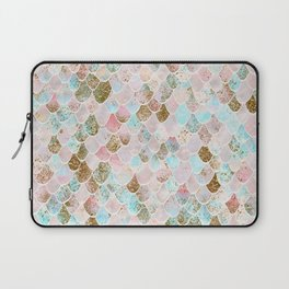 Wonky Watercolor Sea Foam Glitter Mermaid Scales Laptop Sleeve