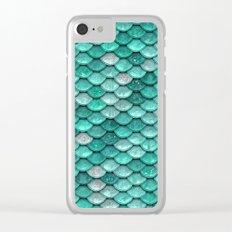 Aqua & mint mermaid glitter scales - Luxury mermaidscales Clear iPhone Case