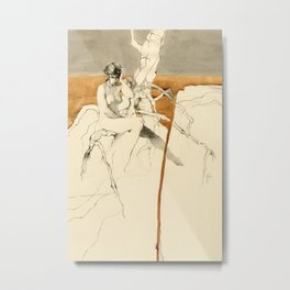 Nude Female Figure Drawing and Tree with Copper Grey Watercolour Metal Print