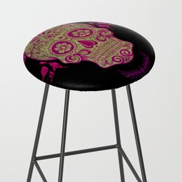 Sugar Skull Green and Pink Bar Stool