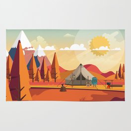 Wild Camping Autumn Landscape Rug