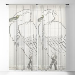 Snowy egret by Kōno Bairei Sheer Curtain