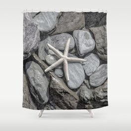 Starfish on Rocks monochrome beige Shower Curtain