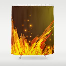 A bonfire with tongues of flame and sparks for the design of summer night ideas. For postcards and f Shower Curtain
