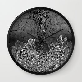 Wild Imagination Illustration (black & white) Wall Clock