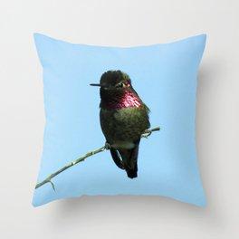 Male Anna's Hummingbird Throw Pillow