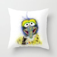 muppets Throw Pillows featuring Gonzo, The Muppets by KitschyPopShop