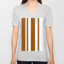 Mixed Vertical Stripes - White and Brown Unisex V-Neck