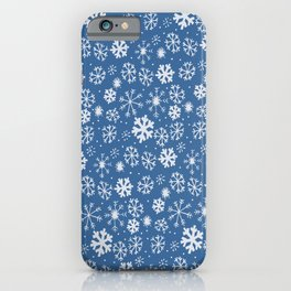 Snowflake Snowstorm With Sky Blue Background iPhone Case