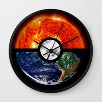 pokeball Wall Clocks featuring Galaxy Pokeball by Advocate Designs