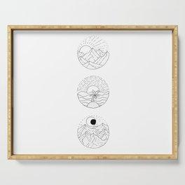 Natural Landscape Circular Vignette Trio Design Serving Tray