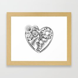 steampunk hipster vector drawing Valentine heart art element for card, site Framed Art Print