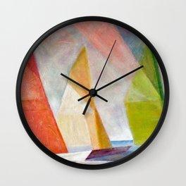Sailing Yachts at Sunrise by Lyonel Feininger Wall Clock