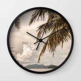 Beach theme, palm trees on tropical island Wall Clock