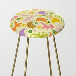 Animals Exotic Pastel Colors Shapes Pattern Counter Stool