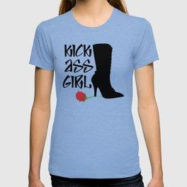 Kick Ass Girl Stiletto Boots Rose Grace Strength T-shirt