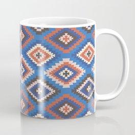 Boho Print - tile, boho, moroccan, kilim print, classic blue, earth tone, rust, kilim home decor Coffee Mug