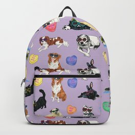 Valentine's Day Candy Hearts Puppy Love - Purple Backpack