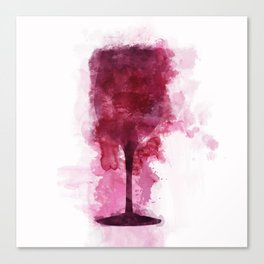 Wine Glass Watercolor Canvas Print