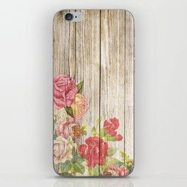 Vintage Rustic Romantic Roses Wooden Plank iPhone Skin