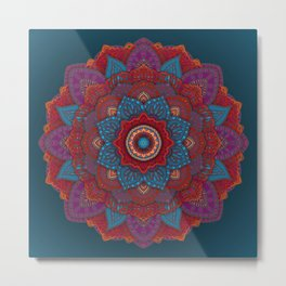 3D Mandala with Red Lace Metal Print