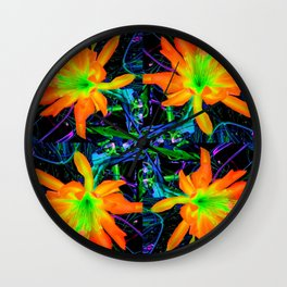 Tropical Yellow Orange Jungle Flowers Grey-black  Art Wall Clock
