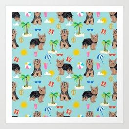 Yorkshire Terrier dog breed pet pattern dog art pet friendly terriers portrait beach summer Art Print