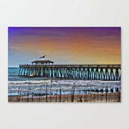 Myrtle Beach State Park Pier - Photo as Digital Paint Canvas Print