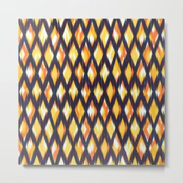 dark diamond ikat texture on yellow ground Metal Print